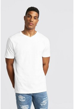 Basic V Neck T-Shirt, White, Uomo