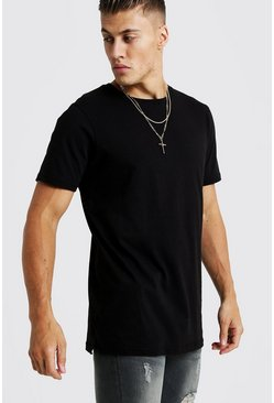 Basic Longline Split Hem T-Shirt, Black, HOMBRE