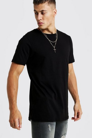 Mens Black Basic Longline Split Hem T-Shirt
