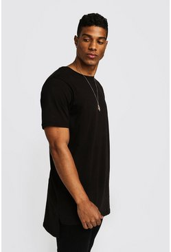 Basic Longline Step Hem T-Shirt, Black, HERREN