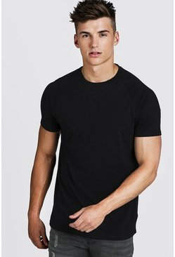 Black Basic Longline Raglan T-Shirt