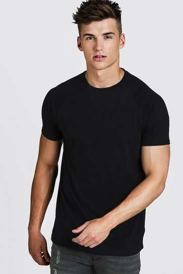 Mens Black Basic Longline Raglan T-Shirt