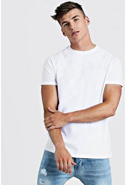 Mens White Basic Longline Raglan T-Shirt