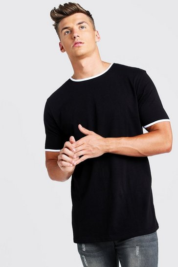 Mens Black Basic Longline Ringer T-Shirt