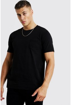 Basic Pocket T-Shirt, Black, HERREN