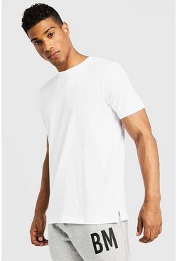 Herr White Basic t-shirt med slits