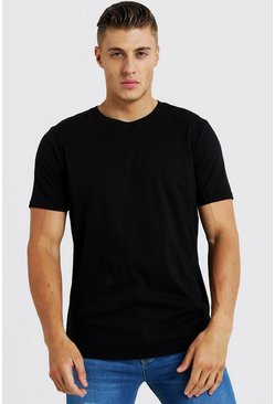 Basic Curved Hem T-Shirt, Black, HERREN