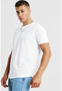 Mens White Basic Curved Hem T-Shirt
