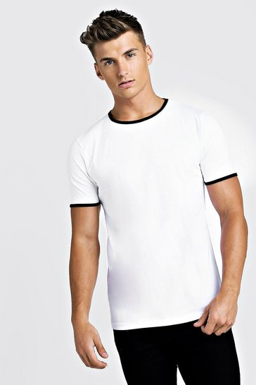 Mens White Basic Ringer Crew T-Shirt