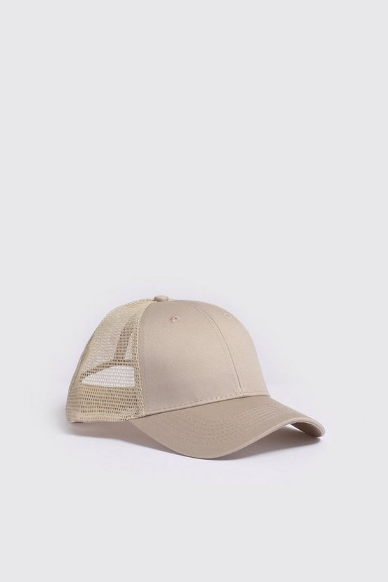 Stone 6 Panel Cotton Front Trucker Cap
