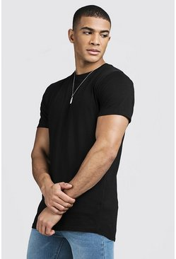 Herr Black Longline Curve Hem T-Shirt With Centre Back Seam
