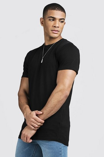 Mens Black Longline Curve Hem T-Shirt With Centre Back Seam