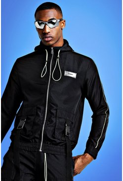 Mens Black Mist Hooded Utility Jacket