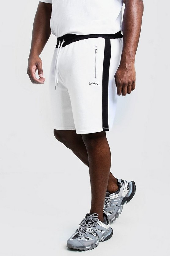 White Big & Tall MAN Dash Panelled Short