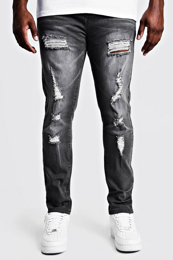 Grey Big & Tall Skinny Fit Jeans All Over Rips