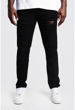 Big & Tall jeans taglio skinny con strappi all-over, Nero, Maschio