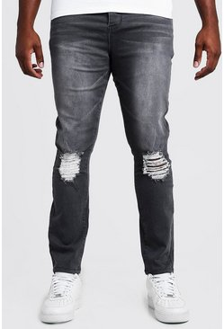 Mens Grey Big & Tall Skinny Fit Jeans With Ripped Knee