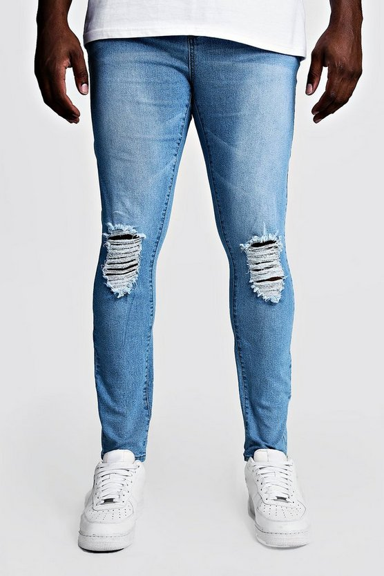 Mens Pale blue Big & Tall Skinny Fit Jeans With Ripped Knees