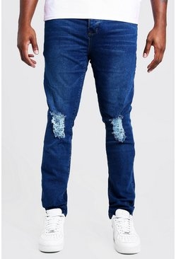 Mid blue Big & Tall Skinny Fit Jeans With Ripped Knee