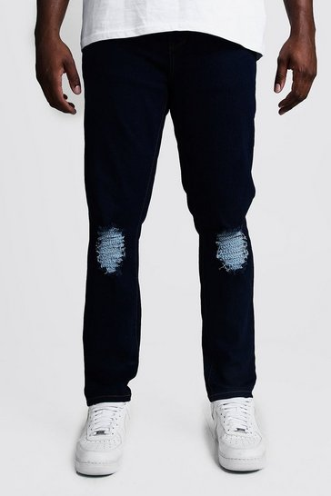 Mens Indigo Big & Tall Skinny Fit Jeans With Ripped Knee
