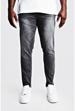 Mens Grey Big & Tall Skinny Fit Jeans