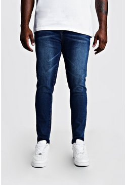 Mens Mid blue Big & Tall Skinny Fit Jeans