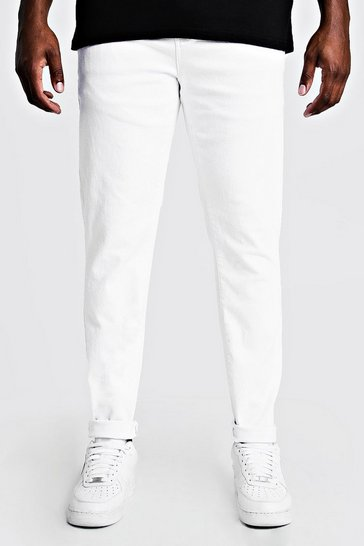 Mens White Big & Tall Skinny Fit Jeans