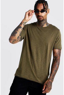 Mens Khaki Slub T-Shirt With Raw Edge