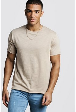 Stone Slub T-Shirt With Raw Edge