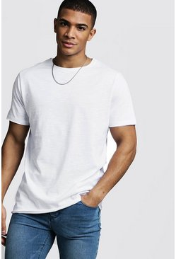 Mens White Slub T-Shirt With Raw Edge