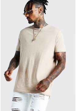 Stone Slub T-Shirt With Step Hem