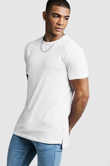 Mens White Slub T-Shirt With Step Hem