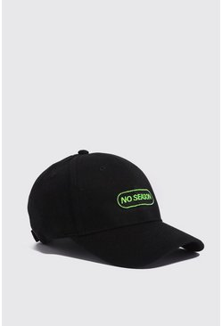 Mens Black No Season Embroidered Cap