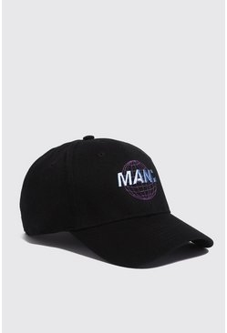 Mens Black Man Globe Embroidered Cap