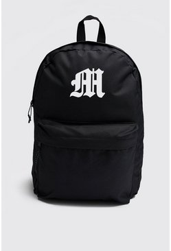 Mens Black Gothic M Print Backpack