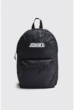 Mens Black Man International Print Backpack