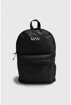 Zaino in nylon con stampa Man Orbit, Nero