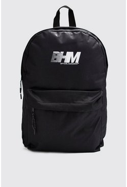 Mens Black BHM Printed Nylon Backpack