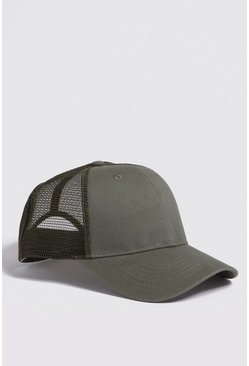 Mens Khaki 6 Panel Cotton Front Trucker Cap