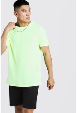 Mens Yellow Oversized Crew Neck T-Shirt