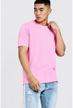 Mens Pink Oversized Crew Neck T-Shirt