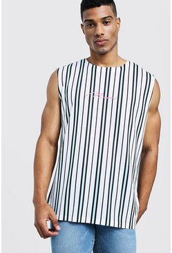 Mens Aqua MAN Signature Stripe Tank