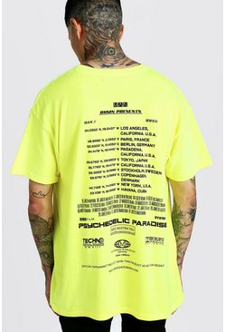 Mens Yellow Oversized MAN Front & Back Print Neon T-Shirt