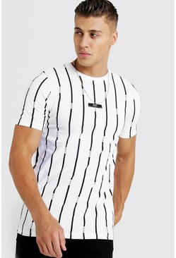 Herr White MAN Stripe Printed T-Shirt With Woven Tab