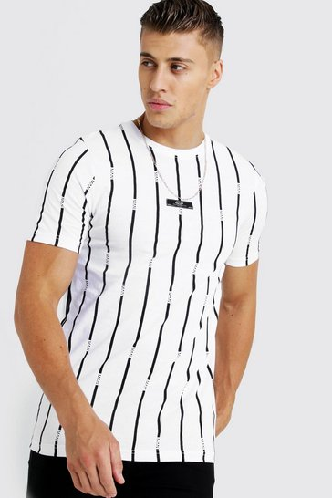 Mens White MAN Stripe Printed T-Shirt With Woven Tab
