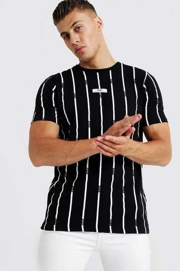 Mens Black MAN Stripe Printed T-Shirt With Woven Tab