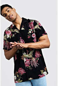 Mens Black Oriental Print Short Sleeve Revere Shirt