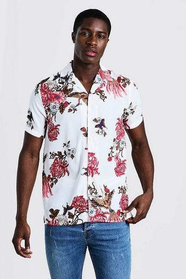 Mens White Oriental Print Short Sleeve Revere Shirt