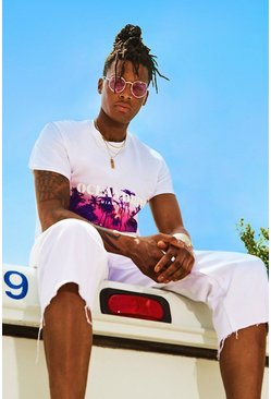 Mens White Oversized Ocean Drive Print T-Shirt