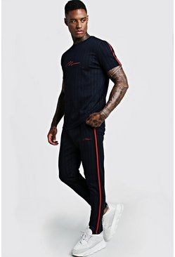 Mens Navy Smart MAN Signature Pinstripe T-Shirt Tracksuit